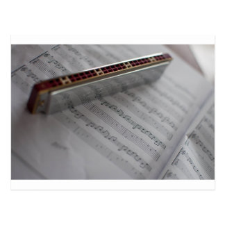 Harmonica Music Notes Book Postcard