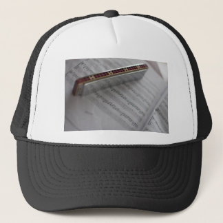 Harmonica Music Notes Book Trucker Hat