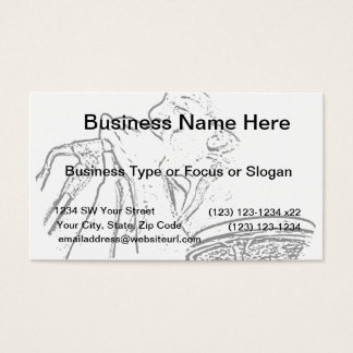 Harmonica Player with drum outline Business Card