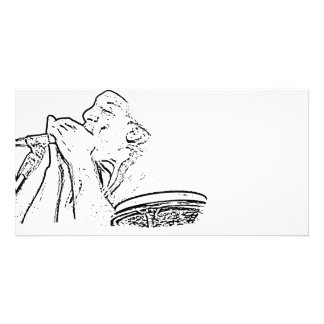 Harmonica Player with drum outline Customized Photo Card