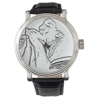 Harmonica Player with drum outline Watch