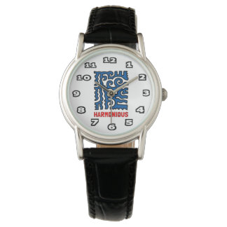 """Harmonious"" Womens Classic Black Leather Watch"