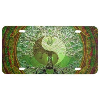 Harmony and Balance Green Yin Yang License Plate
