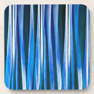 Harmony and Peace Blue Striped Abstract Pattern Coaster