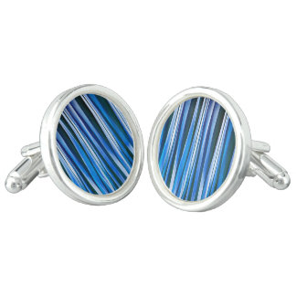 Harmony and Peace Blue Striped Abstract Pattern Cufflinks