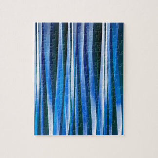Harmony and Peace Blue Striped Abstract Pattern Jigsaw Puzzle