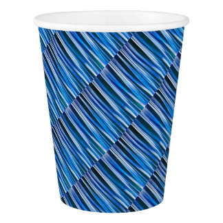 Harmony and Peace Blue Striped Abstract Pattern Paper Cup