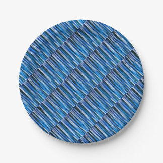 Harmony and Peace Blue Striped Abstract Pattern Paper Plate