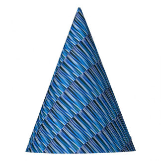 Harmony and Peace Blue Striped Abstract Pattern Party Hat