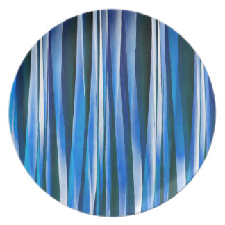 Harmony and Peace Blue Striped Abstract Pattern Party Plates