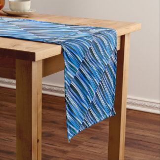 Harmony and Peace Blue Striped Abstract Pattern Short Table Runner