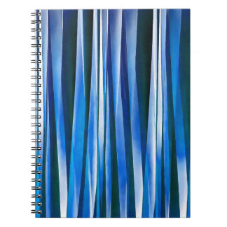 Harmony and Peace Blue Striped Abstract Pattern Spiral Notebook