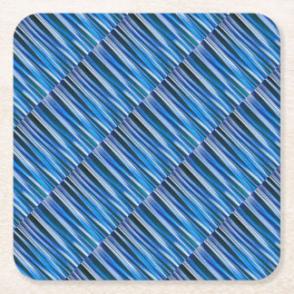 Harmony and Peace Blue Striped Abstract Pattern Square Paper Coaster