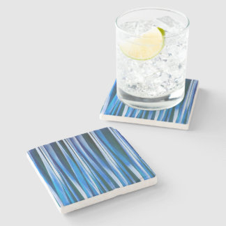 Harmony and Peace Blue Striped Abstract Pattern Stone Coaster