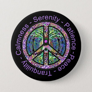 Harmony, Balance, Oneness Peace Symbol 3 Inch Round Button