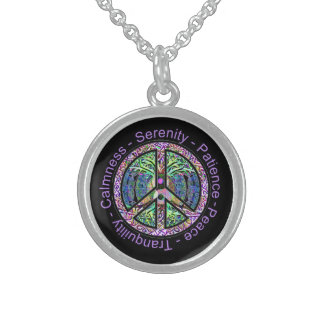 Harmony, Balance, Oneness Peace Symbol Sterling Silver Necklace
