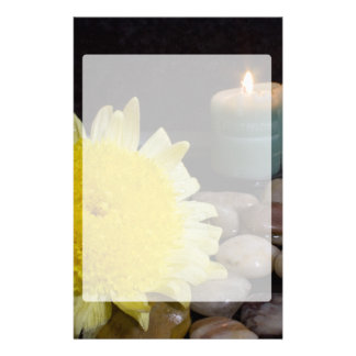 Harmony Candle and Yellow Flower Custom Stationery