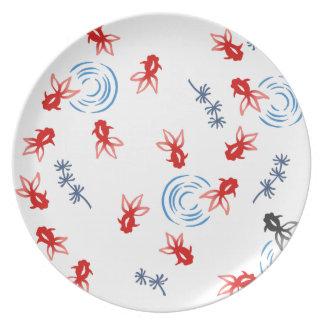 < Harmony handle goldfish >Goldfishes of Japanese Dinner Plates