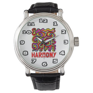 """Harmony"" Mens Black Vintage Leather Watch"