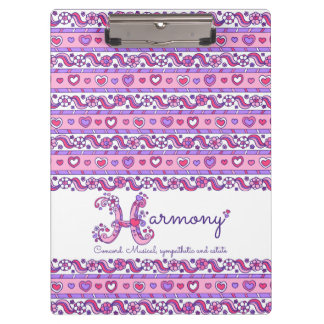 Harmony name meaning hearts letter H clipboard