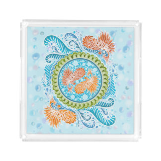 Harmony of the seas ,boho,hippie,bohemian acrylic tray