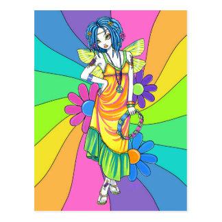 """Harmony"" Rainbow Flower Child Fairy Postcard"