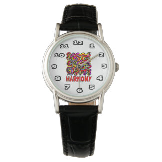 """Harmony"" Womens Classic Black Leather Watch"