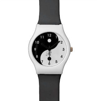 Harmony Yin Yang Black White Face Watch