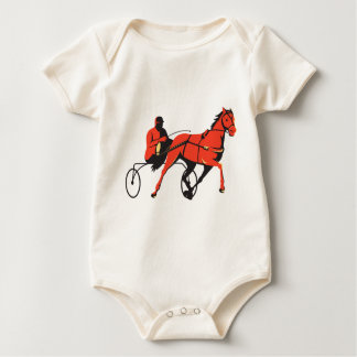 harness horse cart racing retro baby bodysuit