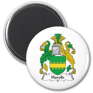Harold Family Crest 2 Inch Round Magnet