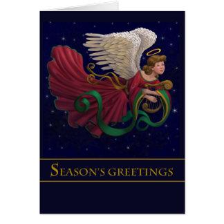 Harp Center - Christmas Angel With Harp Card