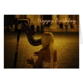 Harp classical instrument birthday card
