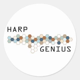 Harp Genius Round Sticker