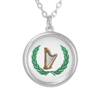harp in a olive branch silver plated necklace