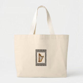 harp in a rectangle large tote bag