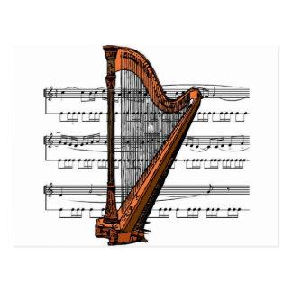 Harp musical 02 B Postcard