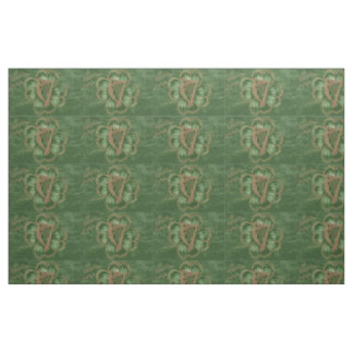 Harp of Erin Four Leaf Clover Green Fabric
