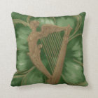 Harp of Erin Four Leaf Clover Green Throw Pillow