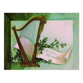 Harp of Erin Shamrock Green Postcard