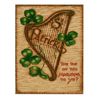 Harp of Erin Shamrock Top of The Morning Postcard