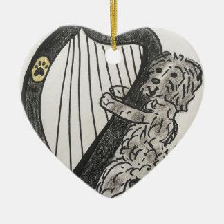 Harp puppy ceramic ornament