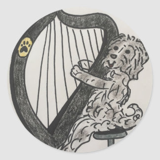 Harp puppy classic round sticker
