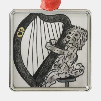 Harp puppy metal ornament