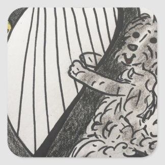 Harp puppy square sticker