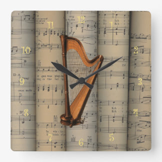 Harp ~ Rolled Sheet Music Background ~ Musical Square Wall Clock