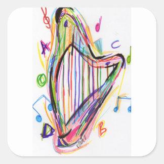 Harp Sketch - Rainbow Square Sticker