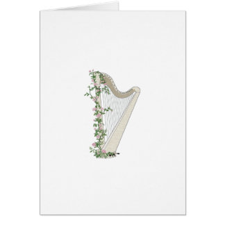 Harp with Roses Card