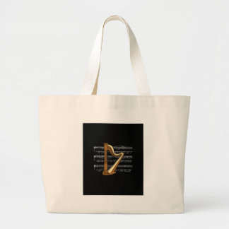 Harp With White Music Sheet Notes ~ Black B'groung Large Tote Bag