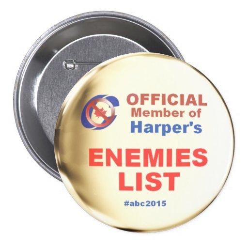 Harper Enemies List Pinback Buttons