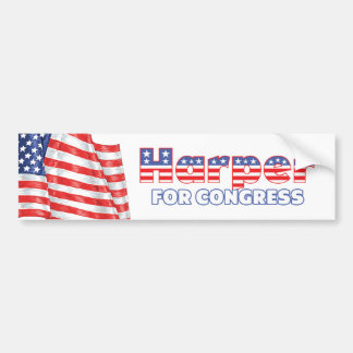 Harper for Congress Patriotic American Flag Bumper Sticker